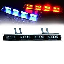 "TURBOSII 24 LED 17"" Traffic Advisor Emergency Warning Directional Light Bar Kit Vehicle Strobe Flash Mini Interior LED Dash Light Bar,RED+BLUE"