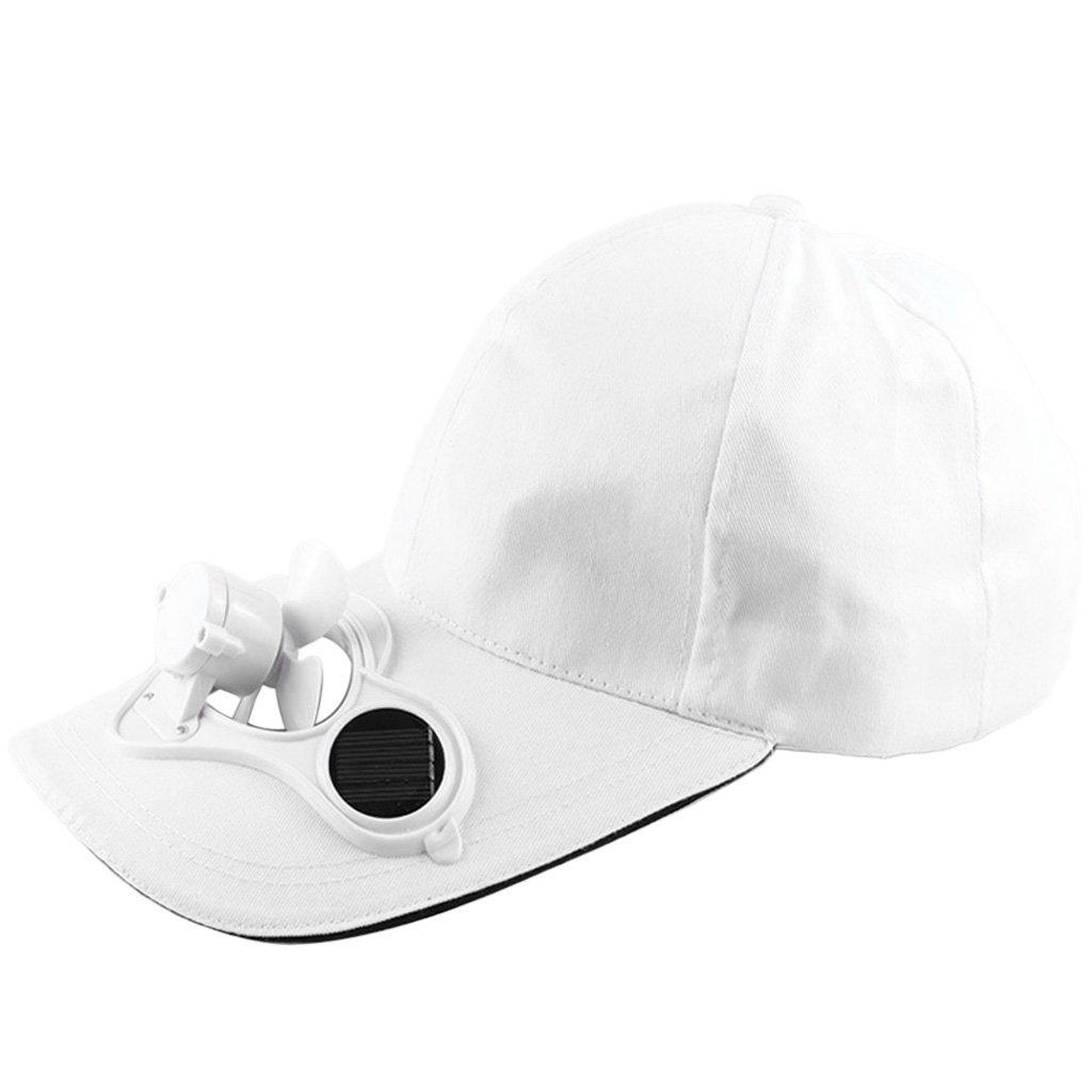 CADANIA Ventilatore con Pannello Solare Raffreddamento Cappellino da Baseball Sport Estivi Cappellino da Viaggio Nero