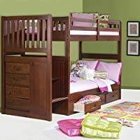 American Furniture Classics Mission Staircase Merlot Bunk Bed, Twin over Twin
