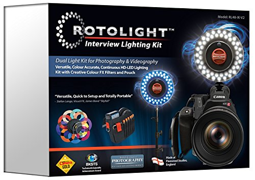 Rotolight Interview Lighting Kit with 2 HD LED Stealth Ringlights, 2 Stands Color Filters Also Includes Belt Pouch by ROTOLIGHT (Image #2)