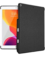 """ProCase iPad 10.2 (2020 8th Gen/ 2019 7th Generation) Back Case with Pencil Holder, Companion Back Cover for 10.2"""" iPad 8th / iPad 7th, Compatible with Apple Smart Keyboard and Smart Cover -Black"""