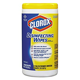 Clorox 15948CT Disinfecting Wipes, 7 x 8, Lemon Fresh, 75 Wipes Per Canister