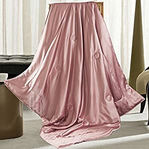 THXSILK Silk Throw with Silk Filling Inside and Out for Bed or Couch Charm Pink, 53x70 from THXSILK