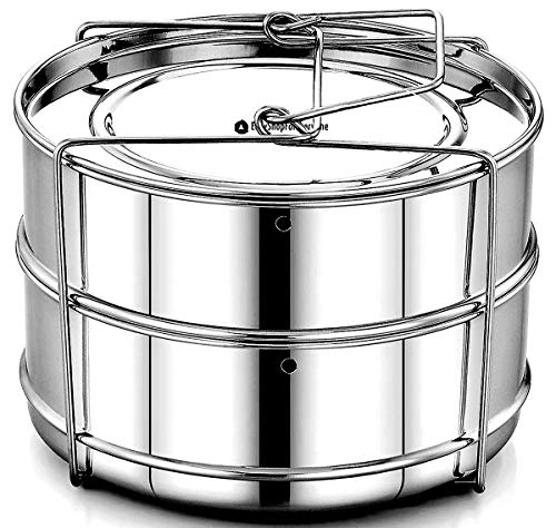 EasyShopForEveryone Stackable Steamer Insert Pans with Vent Holes compatible with Instant Pot Accessories / Fits Pressure Cooker 5 & 6 qt