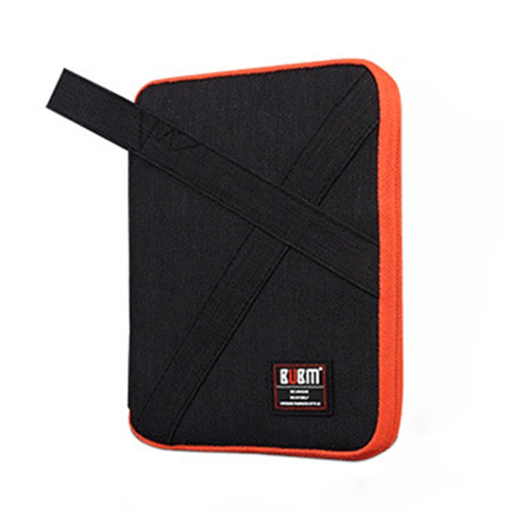 Electronic Organizer, Cable Accessories Case 7 Inch Double-Layer Travel Gadget Digital Storage Carrying Package for iPad line, Cables, Earphone, Power Bank(Black&Orange)