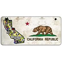 BleuReign(TM) Detailed California Flag Map Motorcycle Moped Golf Cart License Plate Auto Tag
