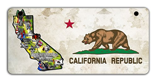 BleuReign(TM Detailed California Flag Map Motorcycle Moped Golf Cart License Plate Auto Tag
