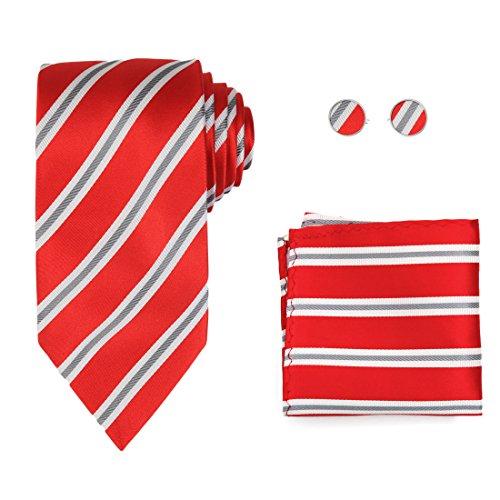 Y&G H8048 Crimson Striped Christmas Day White Grey Economics Presents Idea Silk Tie Cufflinks Hanky Set 3PT (Silk Crimson Vest)