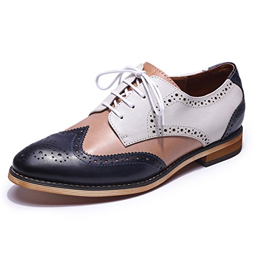Mona flying Womens Leather Perforated Brogue Wingtip Derby Saddle Oxfords Shoes for Womens ladis Girls (Tan Saddle Oxford)