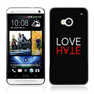 YOYOSHOP [Cool LOVE HATE Sign] HTC One M7 Case
