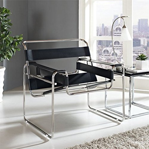 Innovative Leatherette Sling Lounge Chair with Smooth Taut Leather Slings, Protective Rubber Foot Pads, Tubular Stainless Steel Construction, Striking Stylish Design, Black + Expert Home Guide ()