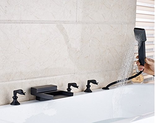 Gowe New Waterfall Spout Bathroom Tub Faucet Deck Mounted Sink Mixer Tap Oil Rubbed Bronze Finished 2