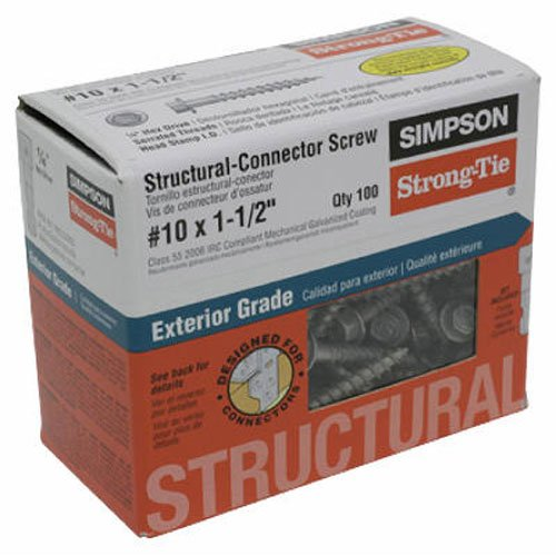 Simpson Structural Screws SD10112R100 No.10 by 1-1/2-Inch Structural-Connector Screw, 100-Pack