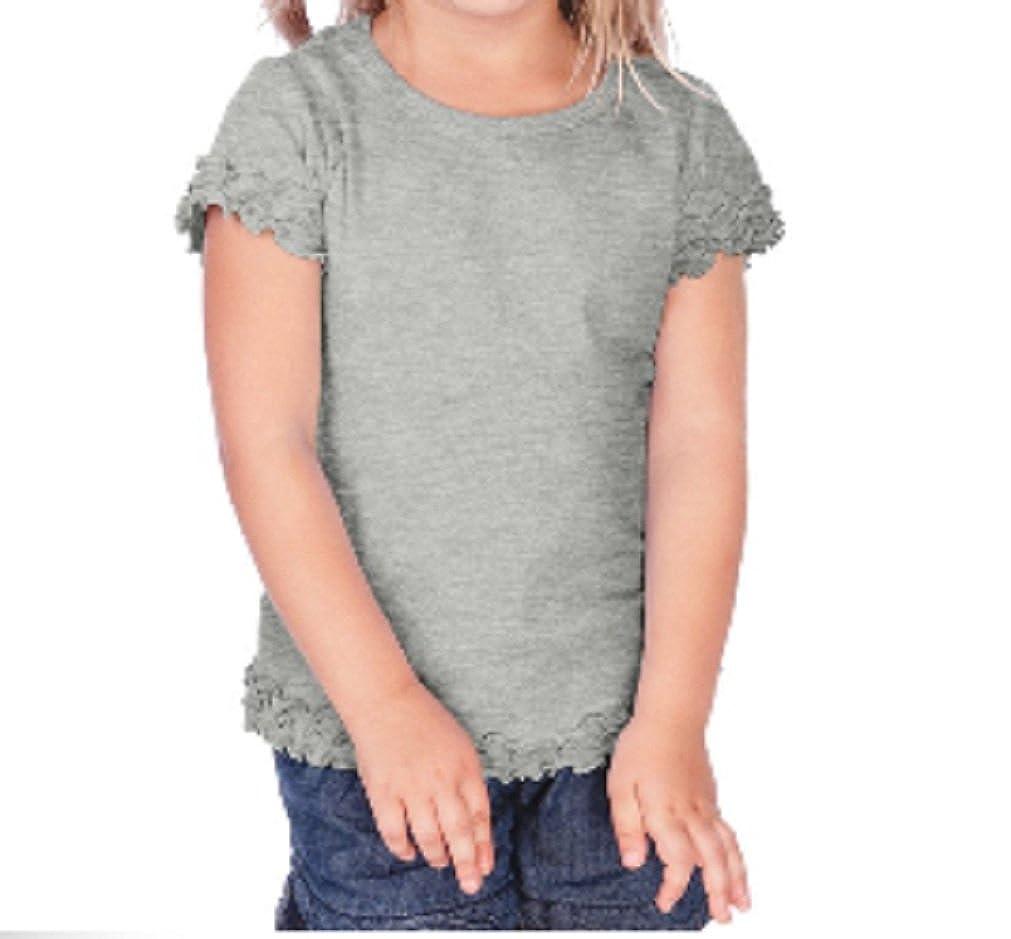Kavio Little Girls Short Sleeve Ruffle Hem T Shirt Tunic in Sizes 6M to 6X.