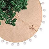 WHYQZ 48 inch 1pc Pom Pom Christmas Tree Skirts Rustic Holiday Decorations Burlap Tree Skirt
