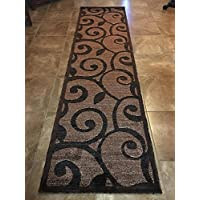 Americana Modern Long Runner Area Rug Brown & Black Design 154 (32 inchX15 feet 10 inch)