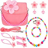 Girls Plush Flower Handbag with Colorful Necklace Bracelet and Flower Hair Clips Hair Ties Ring Clip-on Earrings Set (Pink)