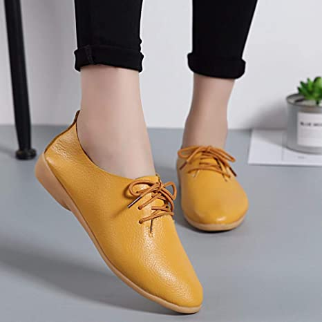 Mujer Zapatos Planos Cuero Soft Único Ligero Lace Up Mocasines Talón Bajo Amarilla Ronda Toe Vintage