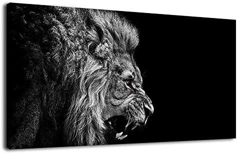 arteWOODS Canvas Wall Art Lion Picture Prints Modern Large Howl Lion Portrait Contemporary Canvas Artwork Black and White Lion