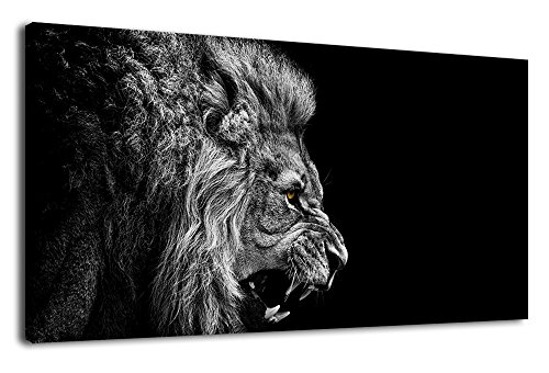 Canvas Wall Art Lion Painting Modern Large Panoramic Canvas Prints Artwork Contemporary Pictures Black and White Lion for Kitchen Office Home Decoration (Black Canvas Large White And Art)