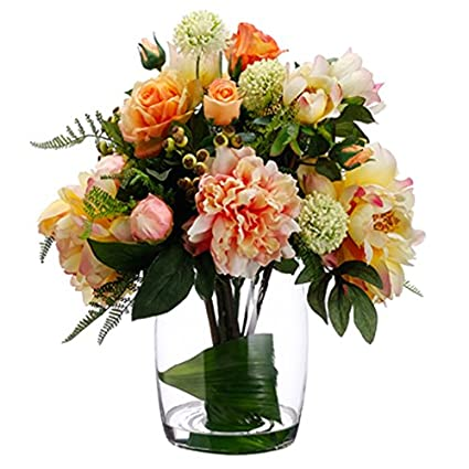 Amazon 18hx19w rose peony allium silk flower arrangement 18quothx19quotw rose peony allium silk flower arrangement mightylinksfo
