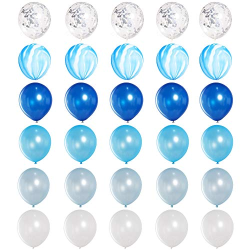 JOJO FLY 30 Pcs Blue Balloons Set, 12 Inch Blue Agate Marble and Silver Confetti, Assorted Blue and White Latex Balloons for Blue Theme Party Decorations 1st Birthday Boy Baby -