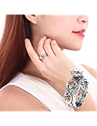 New Floral Hollow Out Zircon Ring Women Fashion Two Tone White Sapphire Wedding Engagement Ring Set