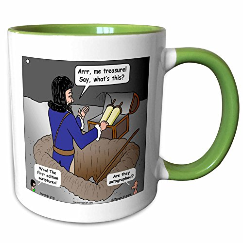 3dRose Rich Diesslin The Cartoon Old Testament - Proverbs 2 1 8 Digging Up the Word of God Bible treasure chest word of God scriptures - 11oz Two-Tone Green Mug (mug_19562_7) Scripture Tea Green Tea