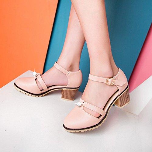 Sandali Con Cinturino Alla Caviglia Dolce Donna Easemax, Punta Rotonda, Sandali Con Tacco Medio Color Rosa
