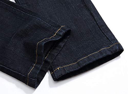 Algodón Jeans Pantalones Hombres Versaces Cintura Elasticidad Black Lavado Ocio Media Heterosexual 7Uqgwa