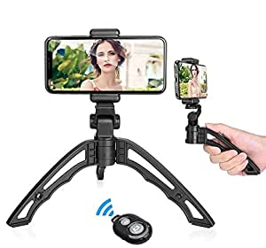 APEXEL 2 in 1 Mini Lightweight Stabilizer Desktop Stand Tripod + Compact Phone Holder +Wireless Bluetooth Camera Shutter for most Smartphone and Digital Camera&Camcorder