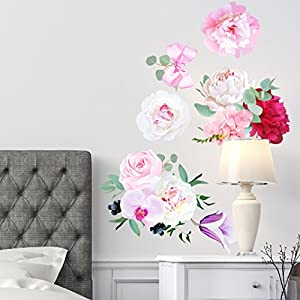 Peony Flowers Seasonal Bouquet Wall Sticker Rose Orchid Burgundy Red White Peony Art #3030 7
