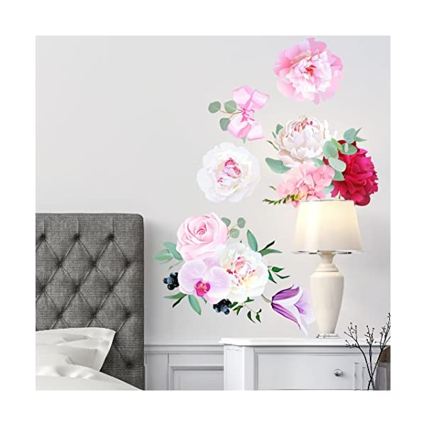 Peony Flowers Seasonal Bouquet Wall Sticker Rose Orchid Burgundy Red White Peony Art #3030