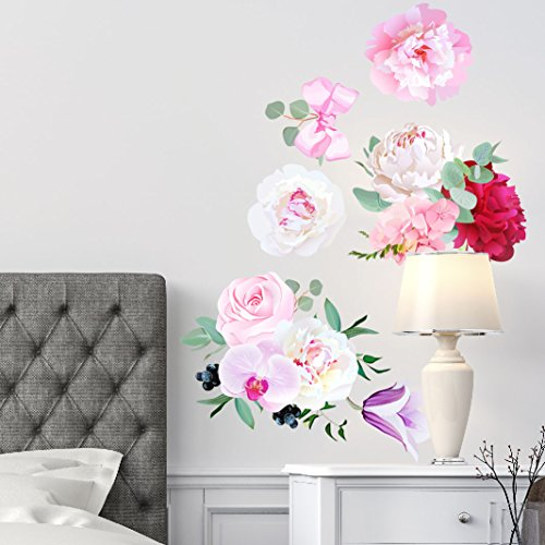 Peony Flowers Bouquet Wall Sticker Rose Orchid Burgundy Red White Peony Art