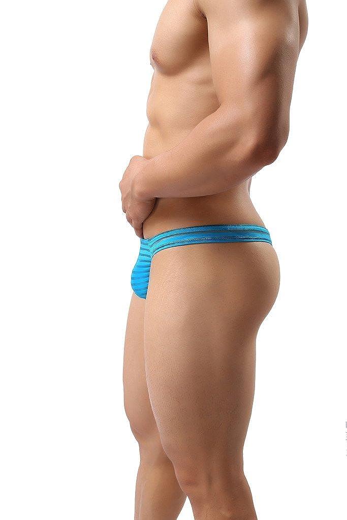 ONEFIT Mens Striped Briefs Mesh Translucent Low Waist U Convex Pants New T