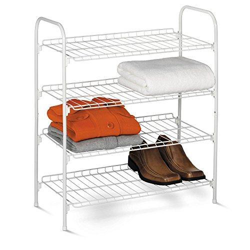 Honey-Can-Do SHO-01172 Wire Shoe & Accessory Rack, White, 4-Tier
