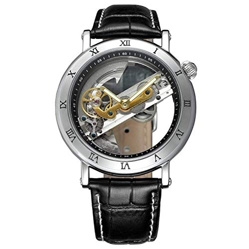 Unique Mens Automatic Watch Transparent Watch Dial Hollow Skeleton Silver Tone Mesh Band Watch