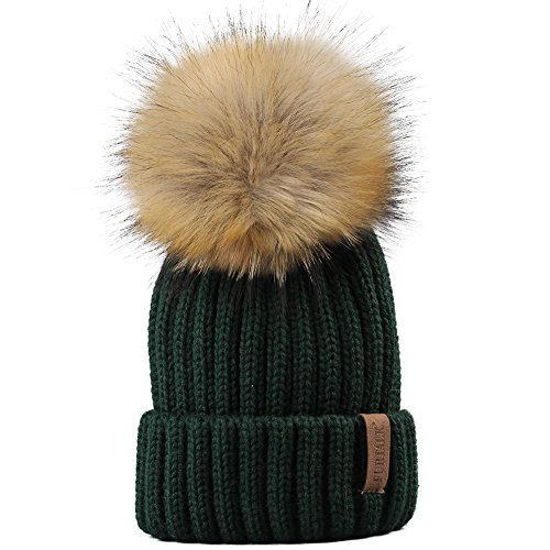Kids Winter Knitted Pom Beanie Bobble Hat Faux Fur Ball Pom Pom Cap Unisex Kids Beanie Hat,Green,One (Green Knit Beanie Cap Hat)