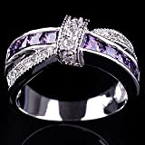Amethyst & white zircon 925 silver fashion Wedding Jewelry New rings size 6-12 (7)