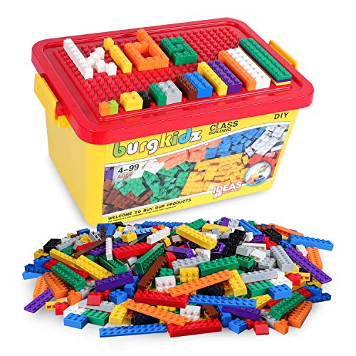 Building Bricks 520 Pieces Set, 500 Basic Building Blocks in 10 Classic Colors, 17 Shapes includes wheels, door, Window, Bulk Block with Reusable Storage Box and Building Base Plate for Easter Gift