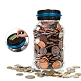 Piggy Bank Jubapoz Digital Coin Bank Savings Jar Money Counting Box Clear Jar with LCD Display, Pennies Nickles Dimes Quarter Half Dollar Change Counter