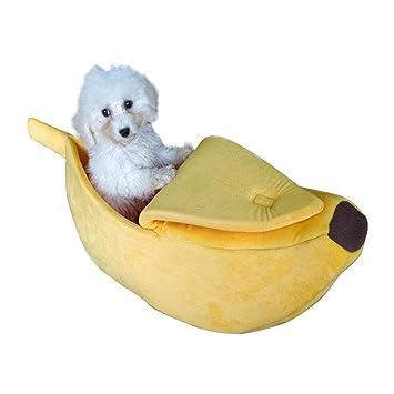 Pawaca lindo plátano gato perro cama Casa, semiabierta cubierta ...