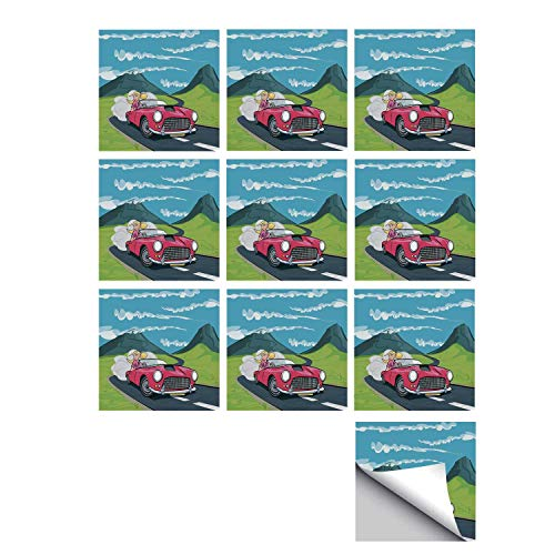 C COABALLA Cars Stylish Ceramic Tile Stickers 10 Pieces,Blonde Girl Driving a Sports Car Through The Country in Cartoon Style Travel Road Trip for Kitchen Living Room,5