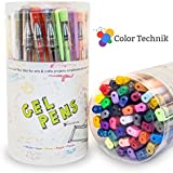 Gel Pens, Buy 2 Get 1-Free, by Color Technik, Set of 40 Best Assorted Colors Including Glitter, Metallic, Pastel, Neon and Classics. Acid-Free