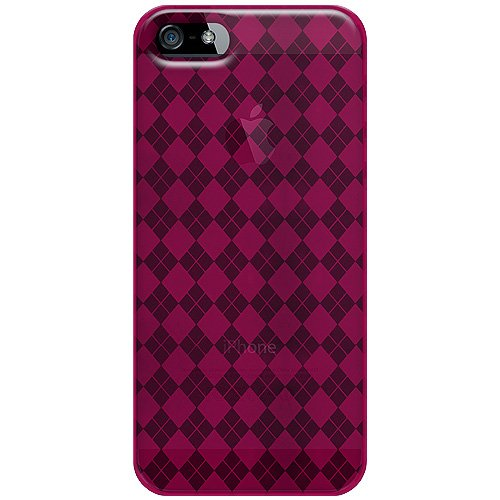 Amzer Luxe Argyle High Gloss TPU Soft Gel Skin Fit Case Cover for iPhone 5, iPhone 5S, iPhone SE - Hot Pink