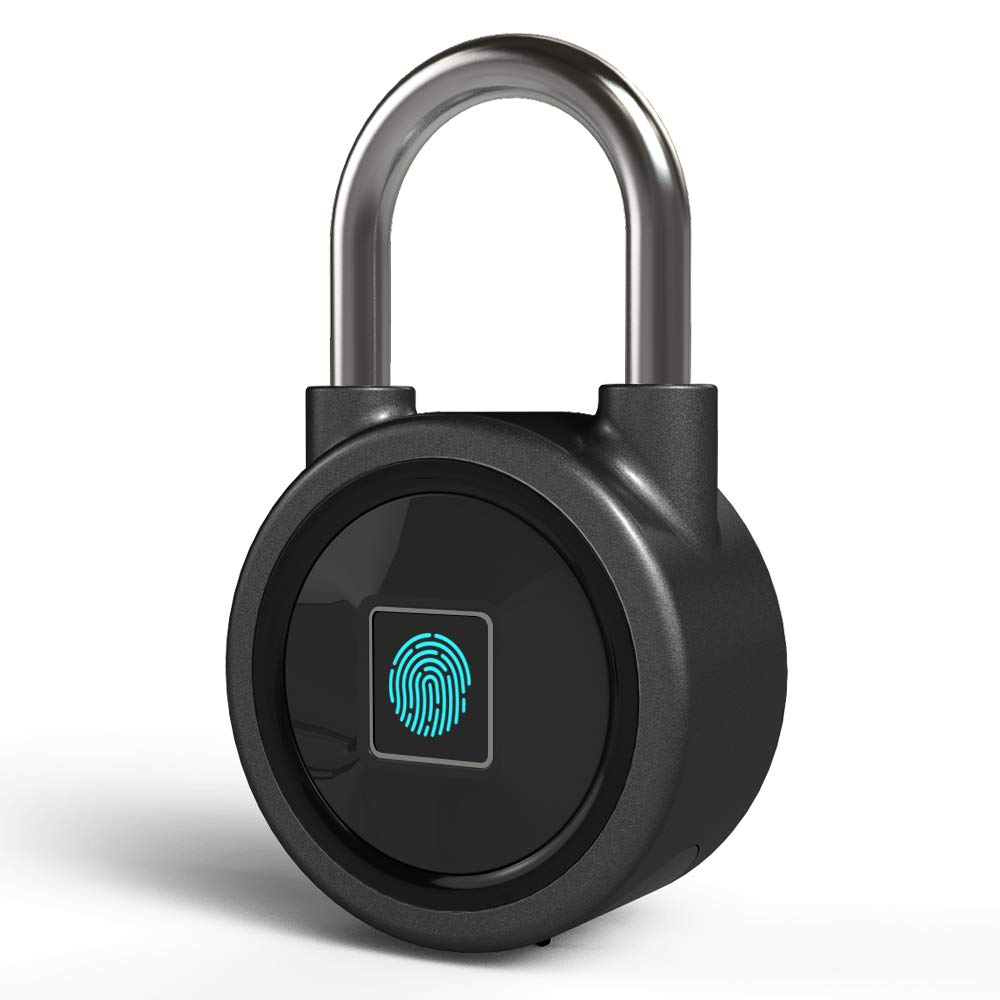 Puce Cadenas d'empreintes digitales sans clé Locker Yasorn Portable Sécurité Antivol Bluetooth App Connexion IP65 étanche avec USB Charge pour numéro de porte/sac à dos/valise/vélo iOS Android (Noir)