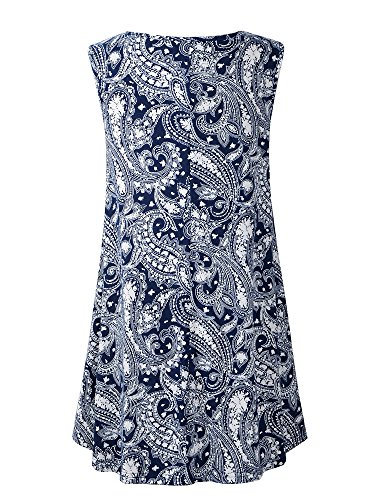 Veranee Women's Sleeveless Swing Tunic Summer Floral Flare Tank Top (Medium, 6-26) by Veranee (Image #1)