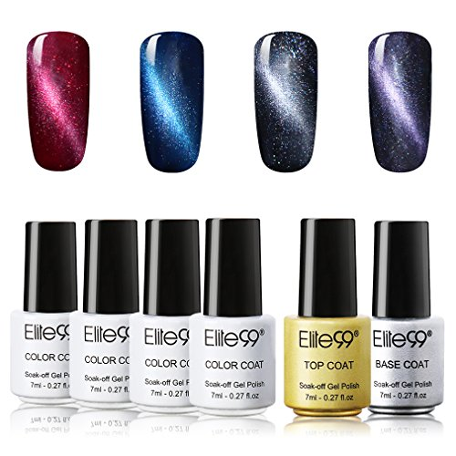 Elite99 Soak Off UV LED Cat Eye Gel Nail Polish Set With Top