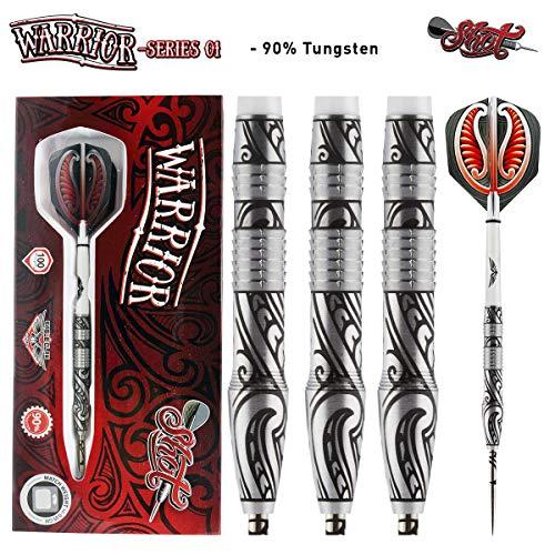 Shot Darts Warrior-Soft Tip Dart Set-Front Weighted-90% Tungsten Barrels (25)