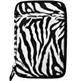 eBigValue Black/White Zebra Faux Animal Fur Sleeve For ViewSonic ViewPad 7 Inch Tab & ViewPad E70 ICS Bluetooth Android Notebook WiFi Tablet
